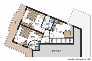 "Floor Plan Apartment Engadin with Room ""Alm"""